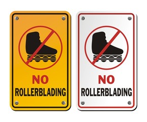 no rollerblading signs