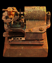 Old hurdy-gurdy. Stylized mechanical collage.