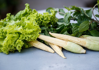 Little corn, lettuce and greens
