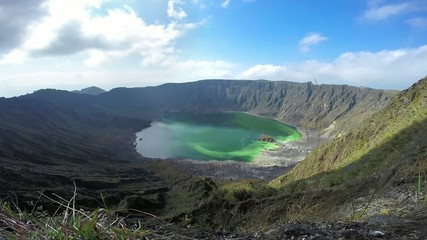 Volcanic crater with sulfur lake