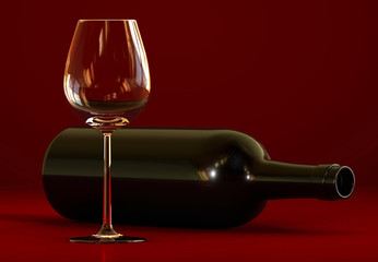 Wine bottle and empty glass