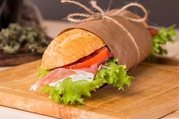 sandwich from fresh baguette