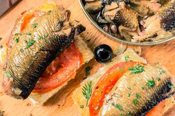 Toast with sardines