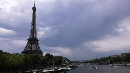 A view of the Eiffel Tower with a bridge. Paris, France.