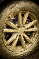 Muddy car's wheel