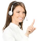 Phone operator pointing at something, on white