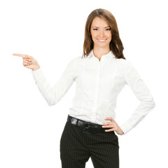 Business woman showing something, on white
