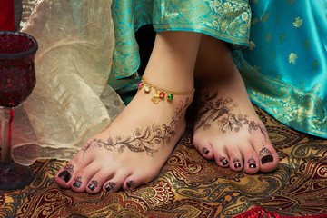 Closeup of woman feet