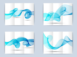 Collection of tri-fold brochure with wave background