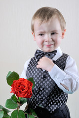 Little Gentleman/a little boy in a vest with a rose in his hands