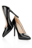 Black high heel shoes for woman on white, clipping path
