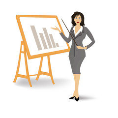 Business woman gives a graphical report