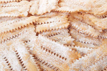 Chiacchiere, italian pastry background