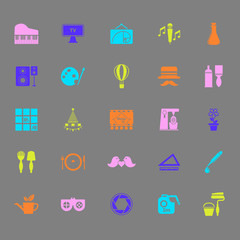 Art activity color icons on gray background