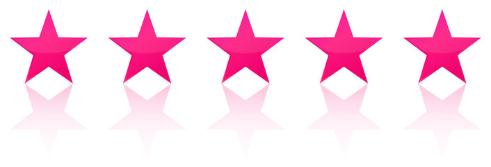 Retro Pink Five Star Product Quality Rating