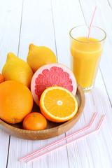 Citrus fruits - oranges, lemons, tangerines, grapefruit  and a g