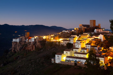 General view of Hornos de Segura in night.  Andalusia