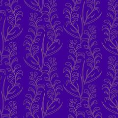 Decorative floral seamless pattern, growing plans on blue backgr
