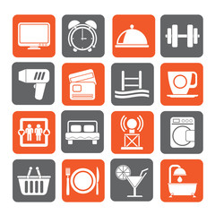 Silhouette Hotel and Motel facilities icons - vector icon set