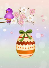 Easter egg on peach tree