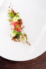 Fine dining dessert, Strawberry/Kiwi ice cream, mousse