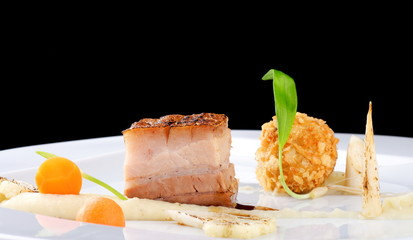 Haute cuisine, Pork Confit steak with a potato purree