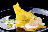 Haute cuisine, Gourmet food scallops on a corn crunch - 80119665