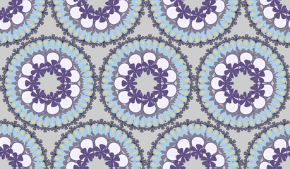 Round floral vector ornament monochrome shades of gray.