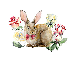Decoration with rabbit & roses, hand drawing.