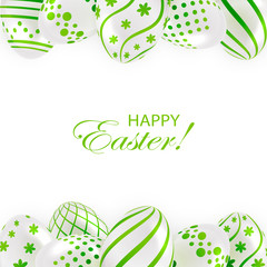 Easter eggs with green pattern