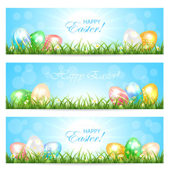 Easter cards with colorful eggs