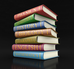 Stack of textbooks (clipping path included)