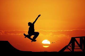 skateboard at sunset