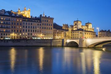 Lyon with Saone river at night