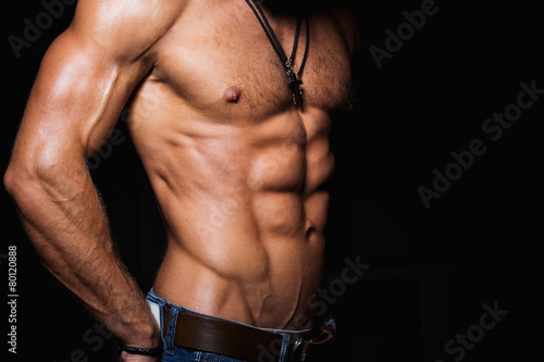 Muscular and sexy torso of young man - 80120888
