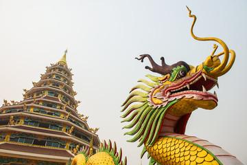 Dragon statue and pagoda
