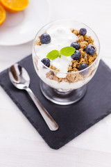 Delicious dessert, flakes flooded in two flavors yogurt with blu