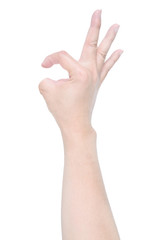 Disabled hand try to show OK sign isolated on white background