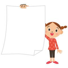 小学生、女の子、用紙