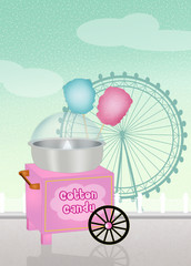 cotton candy cart in the amusement park