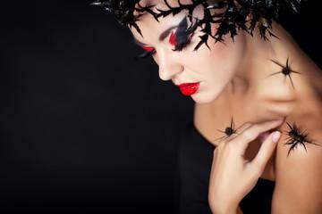 woman portrait in studio, face art