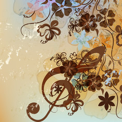 Floral music background with treble clef and flowers