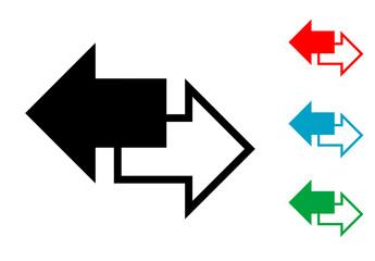 Pictograma derecha e izquierda en varios colores