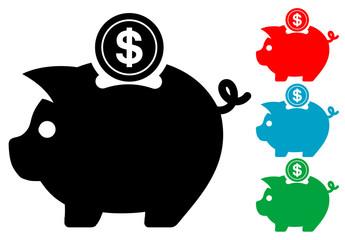 Pictograma hucha con moneda dolar en varios colores