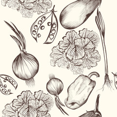 Floral seamless pattern with engraved vegetables