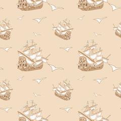 Pirate ship seamless pattern