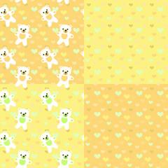 Baby bears  seamless pastel patterns set