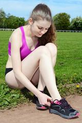Schuhe anziehen vor Lauf