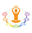 Emblem Yoga pose with chakra lotuses isolated on white backgroun