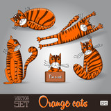 Illustration of the lovable orange cats set on a grey background poster